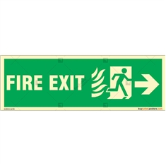 Right Arrow To Fire Exit Night Glow Sign