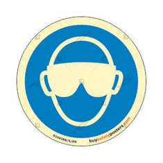 Mandatory Goggles Round Glow In The Dark Signs