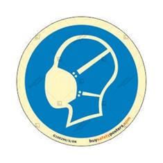 Mandatory Breathing Mask Round Glowing Sign
