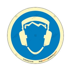 Mandatory Ear Protection Round Auto Glow Sign