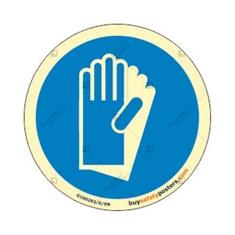 Mandatory Gloves Round Photoluminescent Sign