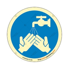 Wash Your Hands Round Glowing Mandatory Signboard