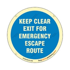 Keep Clear Exit For Emergency Escape Route Auto Glow Sign