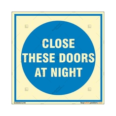 Close These Doors At Night Square Auto Glow Sign
