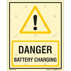 Danger Battery Charging Glowing Signs