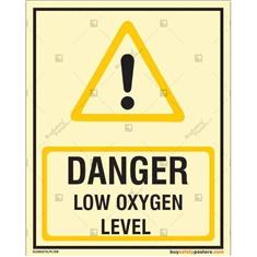 Danger Low Oxygen Level Glow In The Dark Signs