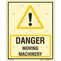 Danger Moving Machinery Glowing Sign