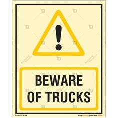 Beware Of Trucks Photoluminescent Signboard