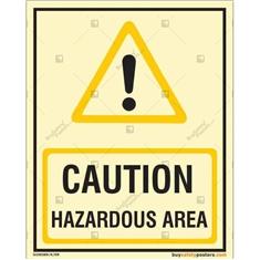 Caution Hazardous Area Auto Glow Sign
