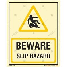 Beware Slip Hazard Photoluminescent Signboard