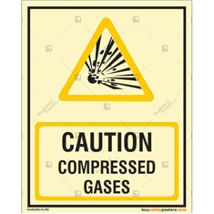 Caution Compressed Gases Autoglow Signs