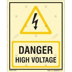 Danger High Voltage Photoluminescent Signboard