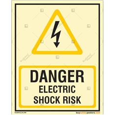 Danger Electric Shock Risk Glow In The Dark Signboard