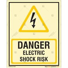 Danger Electric Shock Risk Autoglow Signboard