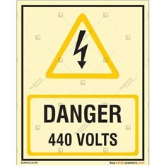 Danger 440 Volts Photoluminescent Signboard