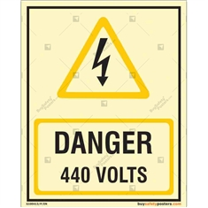 Danger 440 Volts Autoglow Signboard