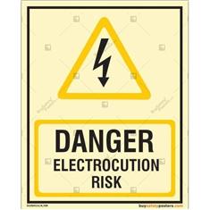 Danger Electrocution Risk Glow In The Dark Signboard