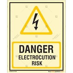 Danger Electrocution Risk Photoluminescent Signboard