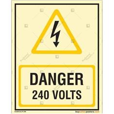 240 Volts Glow In The Dark Signboard