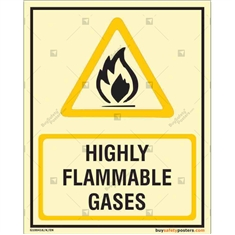 Highly Flammable Gases Autoglow Sign