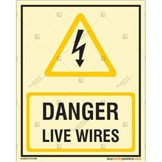 Danger Live Wires Glow In The Dark Signboard
