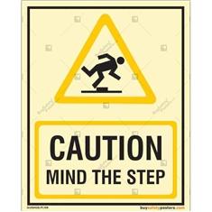 Danger Mind The Step Photoluminescent Signboard