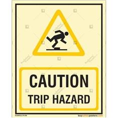 Caution Trip Hazard Glow In The Dark Warning Sign