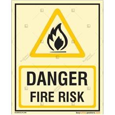 Danger Fire Risk Photoluminescent Signboard
