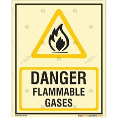 Danger Flammable Gases Glow In The Dark Signboard