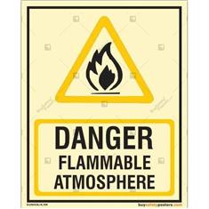 Danger Flammable Atmosphere Glow In The Dark Signboard