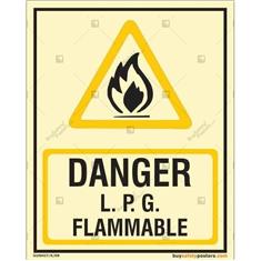 Danger LPG Flammable Glow In The Dark Signboard