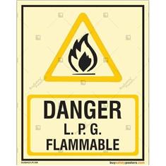 Danger LPG Flammable Photoluminescent Signboard