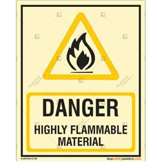 Danger Highly Flammable Material Photoluminescent Signboard