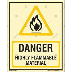 Danger Highly Flammable Material Autoglow Signboard