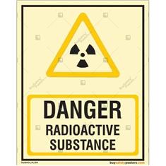 Danger Radioactive Substance Photoluminescent Signboard