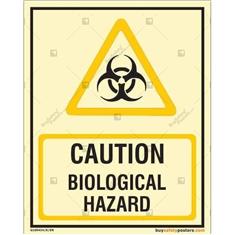 Caution Biological Hazard Glow In The Dark Signboard