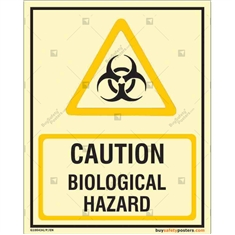 Caution Biological Hazard Autoglow Sign