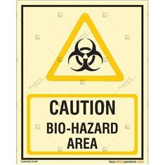 Caution Bio-Hazard Area Glow In The Dark Sign