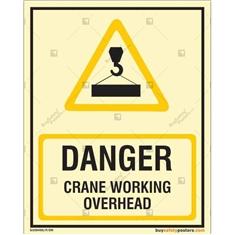 Danger Crane Working Overhead Photoluminescent Signboard