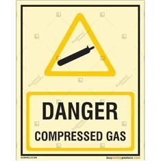Danger Compressed Gas Photoluminescent Signboard