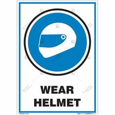 Wear Helmet Sign in Portrait