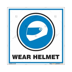 Wear Helmet Sign in Square