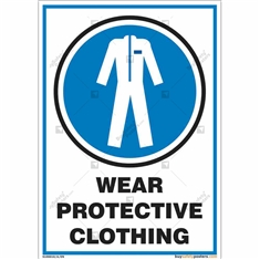 Wear Protective Clothing Sign in Portrait