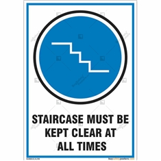 Staircase Must Be Kept Clear Sign in Portrait