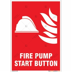 Fire Pump Start Button Sign in Portrait