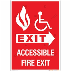 Accessible Fire Exit Sign in Portrait