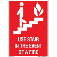 Use stairs In Event of Fire Sign in Portrait