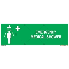 Emergency Medical Shower Sign in Rectangle
