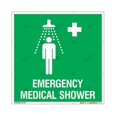 Emergency Medical Shower Signs in Square