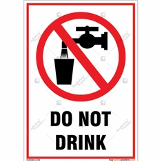 Do Not Drink Sign in Portrait